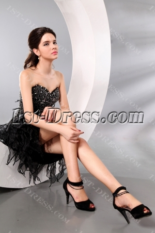 Luxury Black Ruffled Short Cocktail Dress