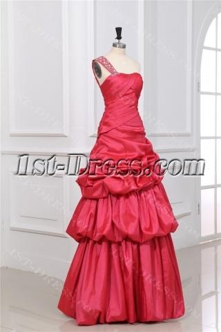 Modest One Shoulder A-line Long 15 Quinceanera Dress