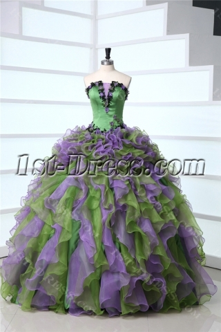 Multi-Color Ruffled Green 2014 Quinceanera Dresses
