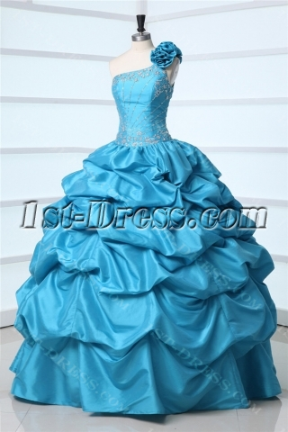 One Shoulder Turquoise Pick up Masquerade Ball Gown