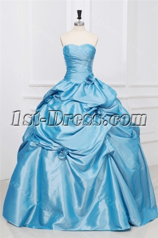 Perlwinkle Taffeta Long Sweetheart Cheap Quinceanera Dresss