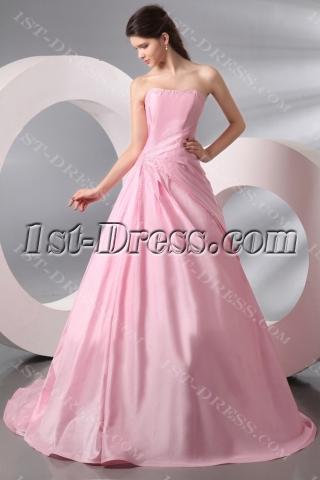 Pink Long Taffeta Wedding Dress for over 40 Bride