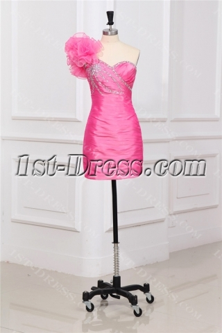 Pink One Shoulder Mini Party Dress