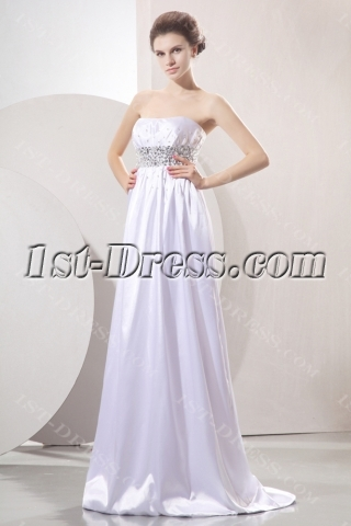 Plain Beaded Empire Wedding Dress with Train