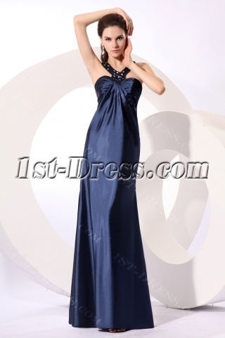 Pretty Navy Blue Satin Halter Plus Size Party Dress