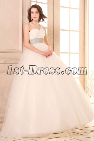 Puffy Pretty Tulle Quinceanera Dress with One Shoulder