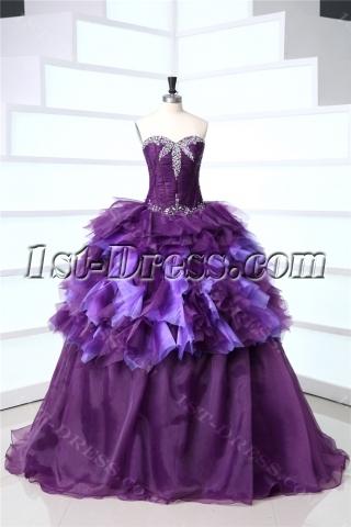 Purple Long Best Quince Gown Dress