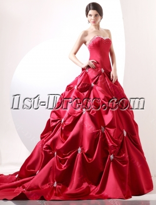 Red Luxury Corset Princess Wedding Gown Dress