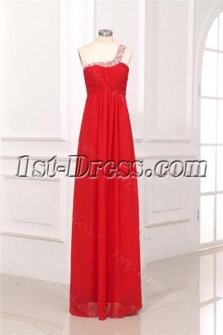 Red One Shoulder Keyhole Maternity Prom Dresses