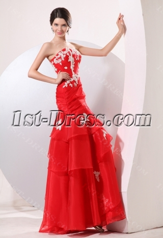 Red Organza Long Strapless Mermaid Best Quinceanera Gown