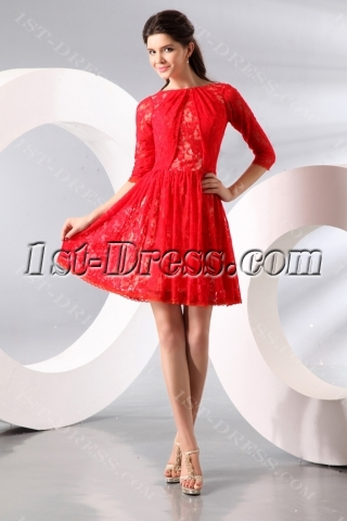Red Short Middle Sleeves Lace Homecoming Dress