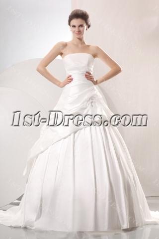 Romantic A-line Strapless Pick up Princess Wedding Dress