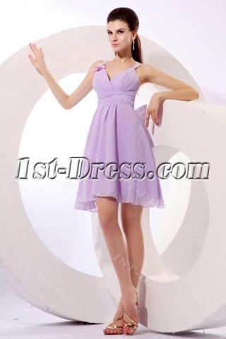 Romantic Lavender Short Summer Bridesmaid Gown