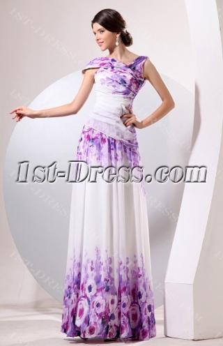 Romantic Long Flower Print Evening Dress