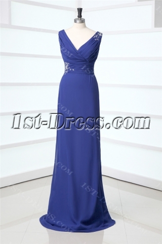 Royal Blue Column Chiffon Prom Dress with Detachable Train for Mother of Groom