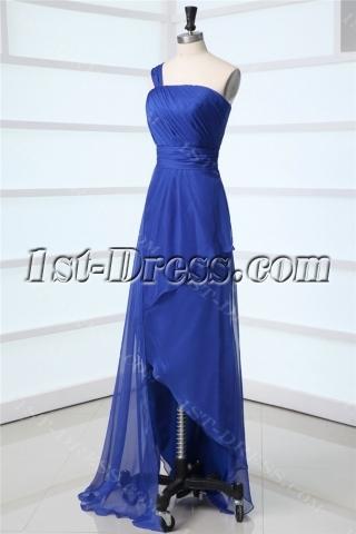 Royal One Shoulder Asymmetrical Prom Dress