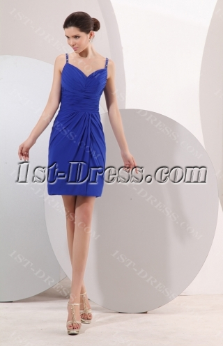 Royal Spaghetti Straps Short Formal Mother of Groom Party Gown