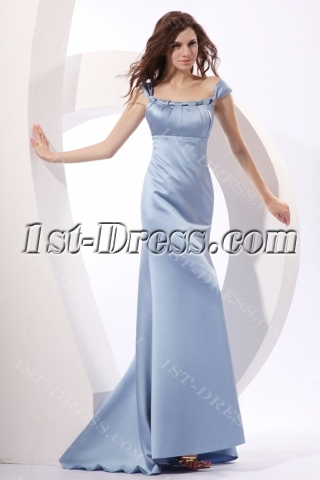 Scoop Satin Lavender Sheath Formal Occasion Dress with Train