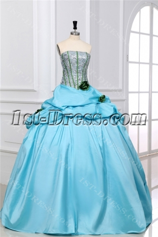 Sequins Blue New Quinceanera Gowns 2014