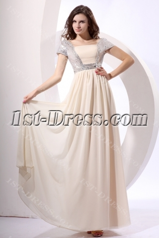 Silver Sequins Long Chiffon Modest Prom Dress with Short Sleeves