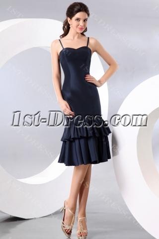 Spaghetti Straps Navy Blue Tea Length Taffeta Homecoming Dress