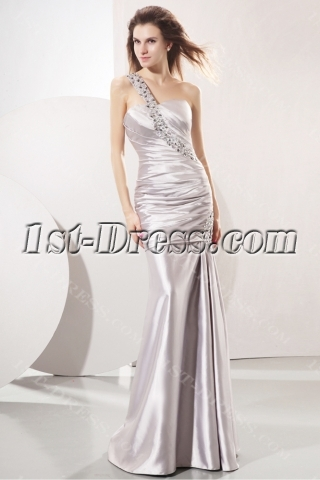 Spectacular Silver One Shoulder Sheath Celebrity Gown