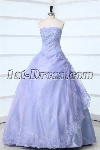 Strapless Lavender Long Quinceanera Dress 2011