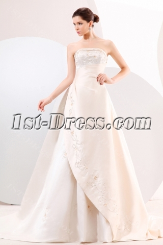 Strapless Satin A-line Long Classical Western Wedding Gown