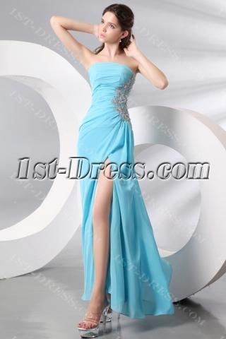 Strapless Sky Blue Slit Celebrity Dress