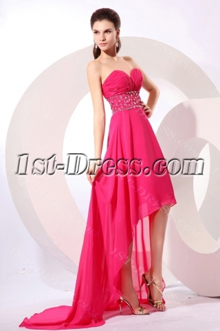 Sweetheart Fuchsia High Low Hem Cocktail Dresses Plus Size with Train