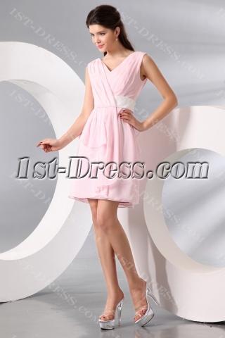 Timeless Pink Chiffon V-neckline Short Homecoming Dress