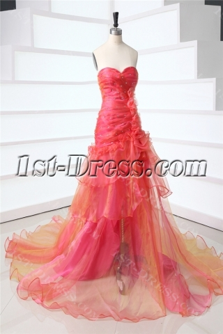 Timeless Sweetheart Long Colorful Prom Gown