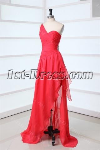 Watermelon Unique One Shoulder Prom Dress in 2013