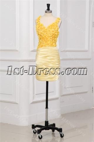 Yellow Flower Mini Junior Prom Dresses