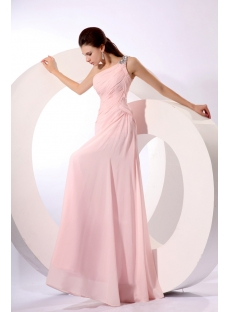 Amazing Pearl Pink One Shoulder Chiffon Celebrity Prom Dress