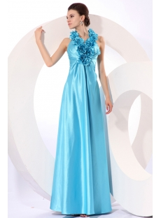 Aqua Flowers Long Halter Evening Dress