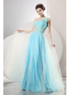 Aqua Impressive One Shoulder Quinceanera Gown