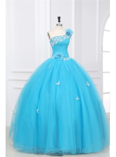 Aqua One Shoulder Puffy 2014 Quinceanera Dresses with Floral