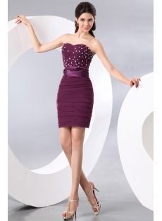 Beaded Stylish Grape Short Club Dresses