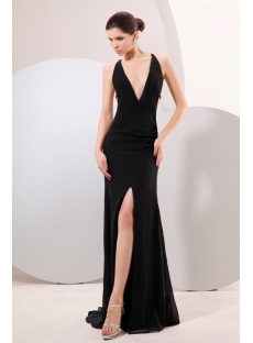Black Plunge V-neckline Backless Evening Dress