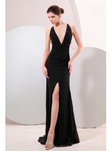 Black Plunge V-neckline Backless Evening Dress
