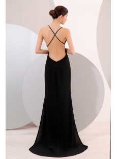 Black Plunge V Neckline Backless Evening Dress 1st Dress Com