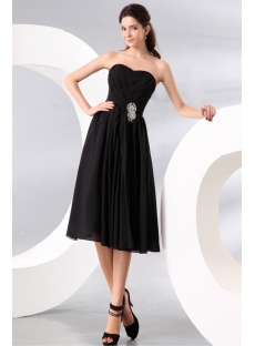 Black Short Sweetheart Short Chiffon Bridesmaid Gowns under 100