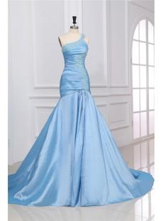 Blue Long One Shoulder Formal Dress with Train