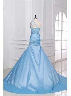 Blue Long One Shoulder Formal Dress with Train
