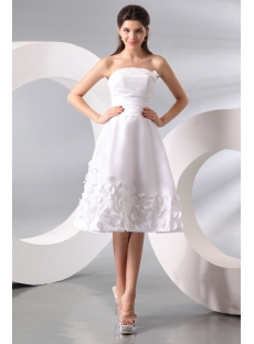 Brilliant Taffeta A-line Strapless Short-Length Wedding Gown