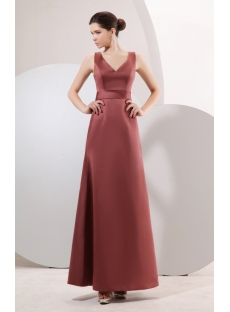 Brown Long Simple Bridesmaid Dress Inexpensive under 100
