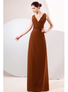 Brown Plunge V-neckline Column Homecoming Dress