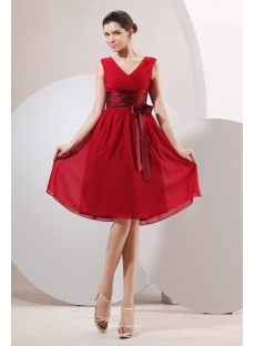 Burgundy Chiffon Short Modest Ribbon Bridesmaid Dress