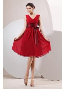 Burgundy Chiffon Short Modest Ribbon Bridesmaid Dress